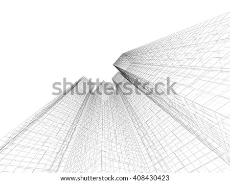 Abstract digital graphic background. Modern buildings made of black wire frame lines isolated on white background. 3d render illustration - stock photo