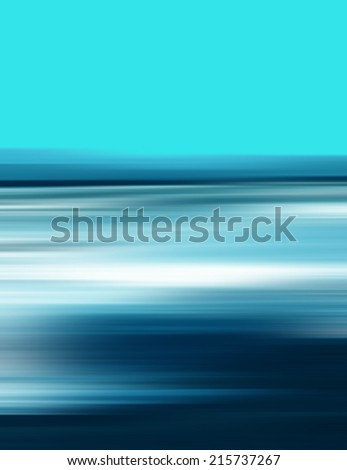 Abstract Digital Landscape with Sky, Horizon and Ocean in Blue Colors - stock photo