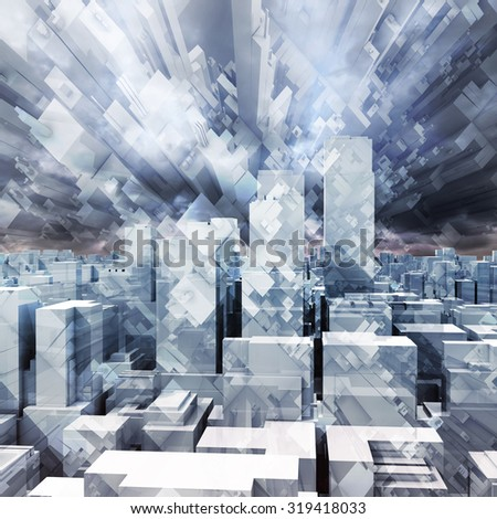 Abstract digital stormy cityscape, skyscrapers and chaotic cubic constructions in dark cloudy sky, 3d illustration - stock photo