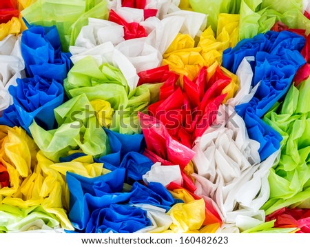 Abstract disposable plastic bags with colorful background - stock photo