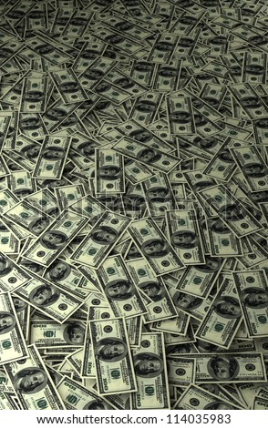 abstract dollar carpet - lots of money on the floor - stock photo