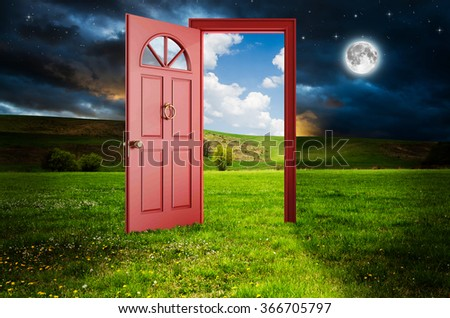 Abstract door.  Elements of this image furnished by NASA. - stock photo