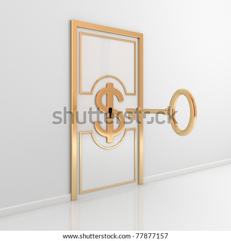 Abstract door with golden ornate frame, dollar sign in the middle and antique key. 3d rendered. - stock photo