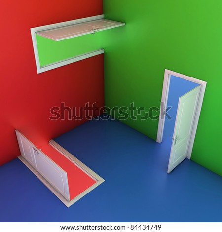 abstract doors 3d illustration, entrance, choice, confusion concept - stock photo