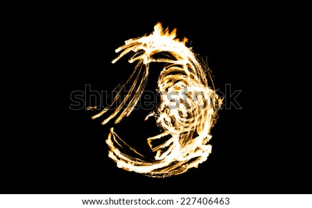 Abstract Drawing, burning figure - stock photo