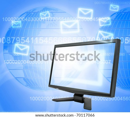 Abstract e-mail communication on map background - stock photo