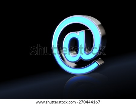 Abstract E-mail symbol with neon light - stock photo