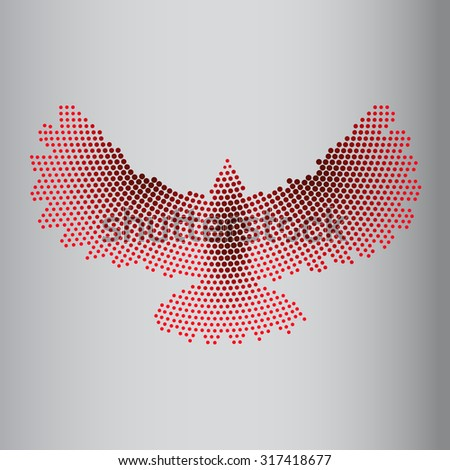 Abstract eagle of circles. Image of a flying, eagle, vulture, crow a bird of prey red color with open wings on a gray background. illustrations made in the technique of small dots, circles. Logo. Icon - stock photo