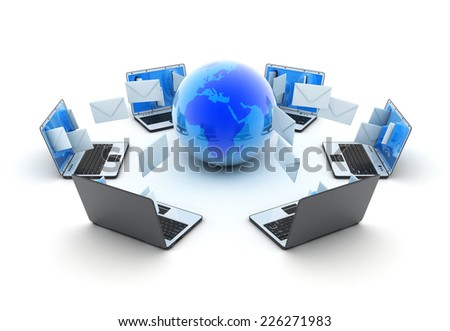 Abstract earth and laptops send mail (done in 3d) - stock photo