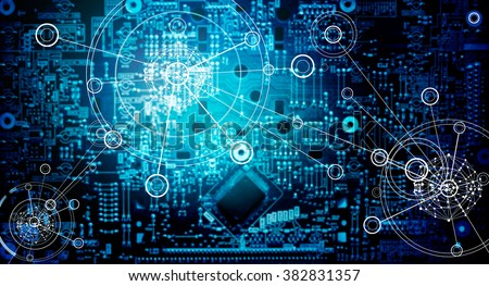 Abstract, Electronic circuit network grunge background - stock photo