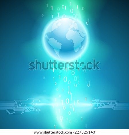 Abstract electronics blue background with circuit board texture and the earth. - stock photo