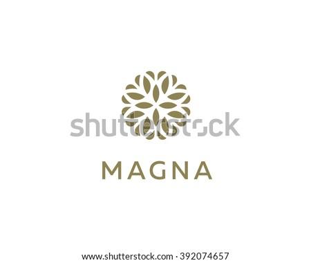 Abstract elegant tree leaf flower logo icon design. Universal creative premium symbol. Graceful jewel boutique sign. - stock photo