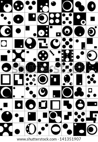 Abstract elements built in the square, black and white, in the squares - stock photo