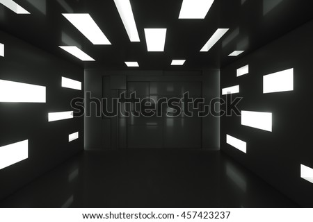 Abstract empty black interior space. 3d rendering illustration - stock photo