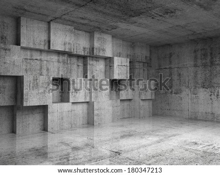 Abstract empty concrete 3d interior with decoration cubes on the wall - stock photo