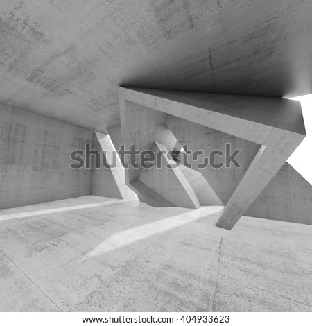 Abstract empty concrete interior design with chaotic column structures. Modern architecture, square background, 3d render illustration - stock photo