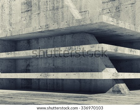 Abstract empty concrete interior with dark floors construction, 3d illustration - stock photo