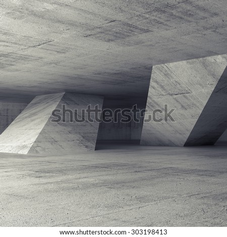 Abstract empty concrete room interior with inclined columns, 3d render illustration, square background - stock photo