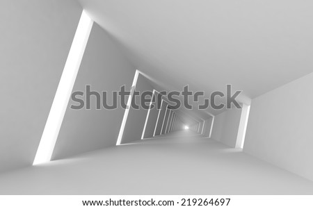 Abstract empty 3d interior background, white corridor perspective - stock photo