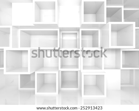 Abstract empty 3d interior with white square shelves on the wall, perspective effect - stock photo