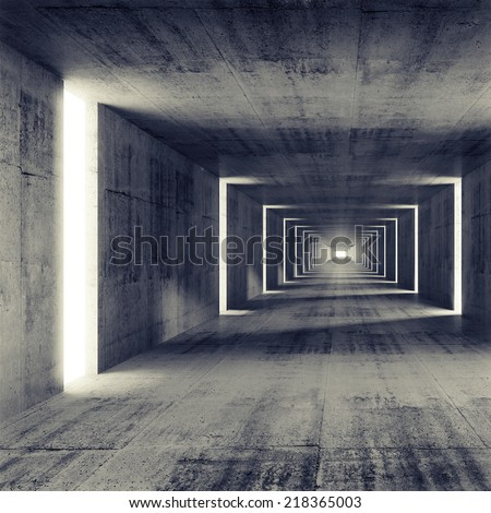 Abstract empty dark concrete tunnel interior, 3d render background - stock photo