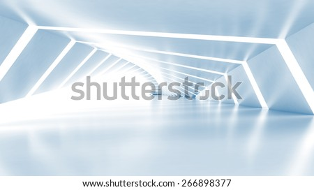 Abstract empty illuminated light blue shining corridor interior, 3d render illustration - stock photo