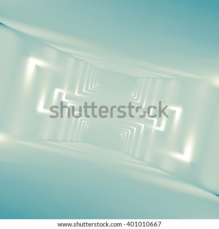 Abstract empty interior background with soft corner lights pattern, blue toned square digital 3d illustration - stock photo
