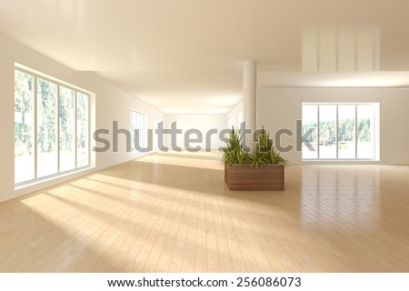 abstract empty interior-3D rendering - stock photo