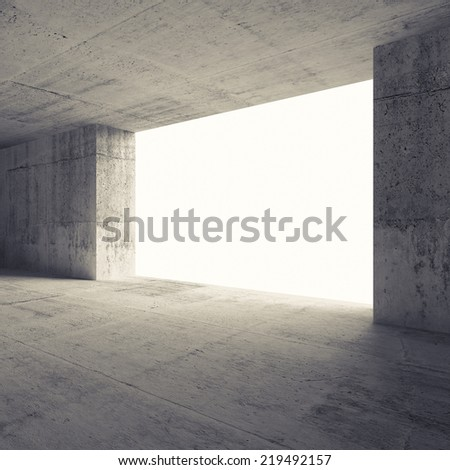 Abstract empty room 3d interior with concrete walls and glowing window - stock photo