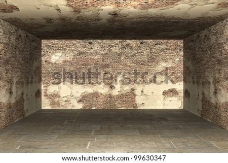Abstract empty room 3d render - stock photo