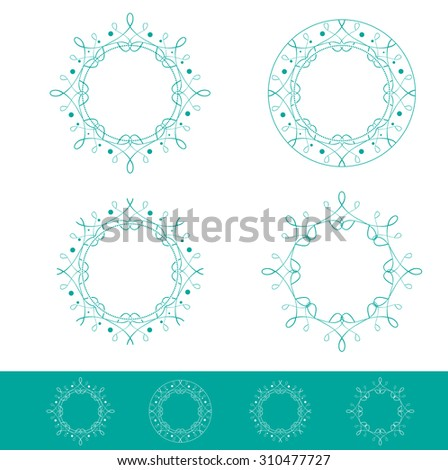 Abstract Empty Round Frame Collection - stock photo