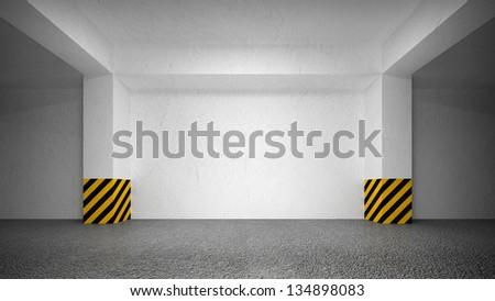 Abstract empty underground parking interior - stock photo