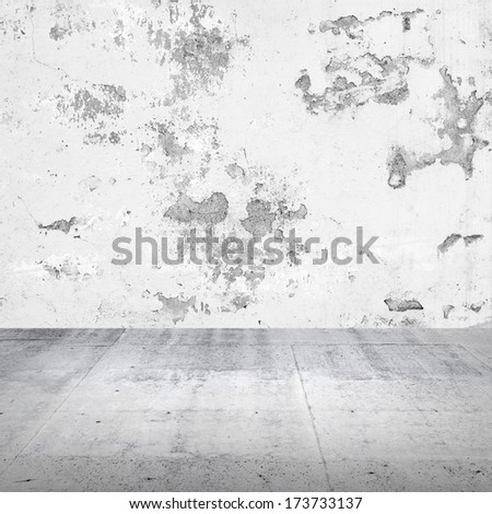 Abstract empty white interior with damaged concrete wall - stock photo