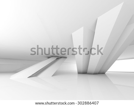 Abstract empty white interior with inclined columns and window, 3d render illustration - stock photo