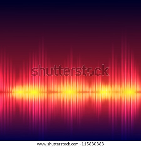 Abstract equalizer background. Red wave. Raster version of the loaded vector. - stock photo