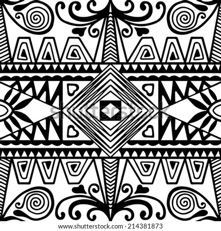 Abstract ethnic decoration, retro floral and geometric ornament, seamless lace pattern, hand drawn artwork, black and white background, raster version - stock photo