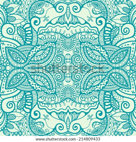 Abstract ethnic decoration, retro floral and geometric ornament, seamless lace pattern, hand drawn artwork, raster illustration - stock photo