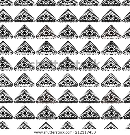 Abstract ethnic seamless pattern in black and white. Aztec monochrome ornament. Tribal art. Geometric background with triangles. Repeating texture. Fabric design. Wallpaper - raster version  - stock photo