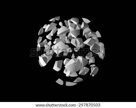 Abstract explosion 3d object, cloud of spherical fragments isolated on black background - stock photo