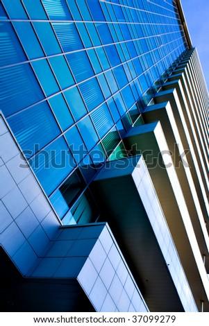 abstract facade of modern building - stock photo