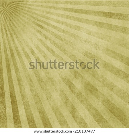 abstract faded retro background, yellow and gold distressed vintage sunburst design pattern of stripes or lines radiating from corner, grunge background texture - stock photo