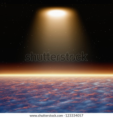 Abstract fantastic background, bright spotlight from space looks like ufo - stock photo