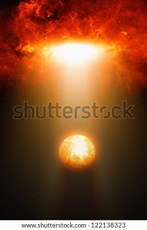 Abstract fantastic background - planet in space, spotlight from red galaxy, end of world. Elements of this image furnished by NASA/JPL-Caltech - stock photo
