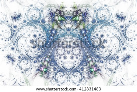 Abstract fantasy blue and grey spiral ornament  on white background. Symmetrical pattern. Creative fractal design for greeting cards or t-shirts. - stock photo