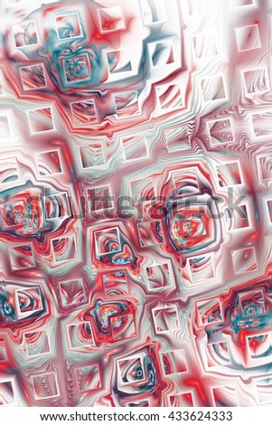 Abstract fantasy color splashes on white background. Creative red and blue fractal design for greeting cards or t-shirts. - stock photo