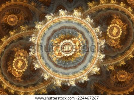 Abstract fantasy golden steampunk design - stock photo