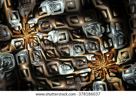 Abstract fantasy metal ornament on black background. Creative fractal design in orange, brown and pale blue colors. - stock photo