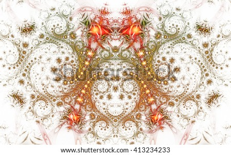 Abstract fantasy orange and grey spiral ornament  on white background. Symmetrical pattern. Creative fractal design for greeting cards or t-shirts. - stock photo