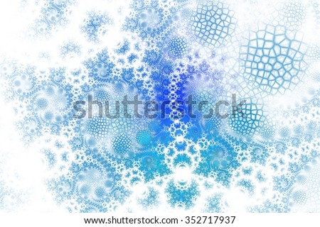 Abstract fantasy spirals with cracked elements on white background. Computer-generated fractal in blue colors. - stock photo