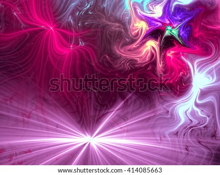 Abstract festive background computer-generated image. Divergent rays and chaotic curves, like fireworks. Vivid background for covers, posters, prints. - stock photo